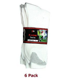 Men's Crew Socks - Two Tone - 6 Pack - Cotton